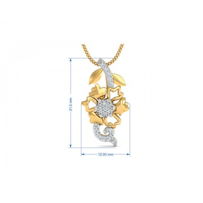 Flora designer diamond pendant, ring & earring set in 14k hallmarked gold